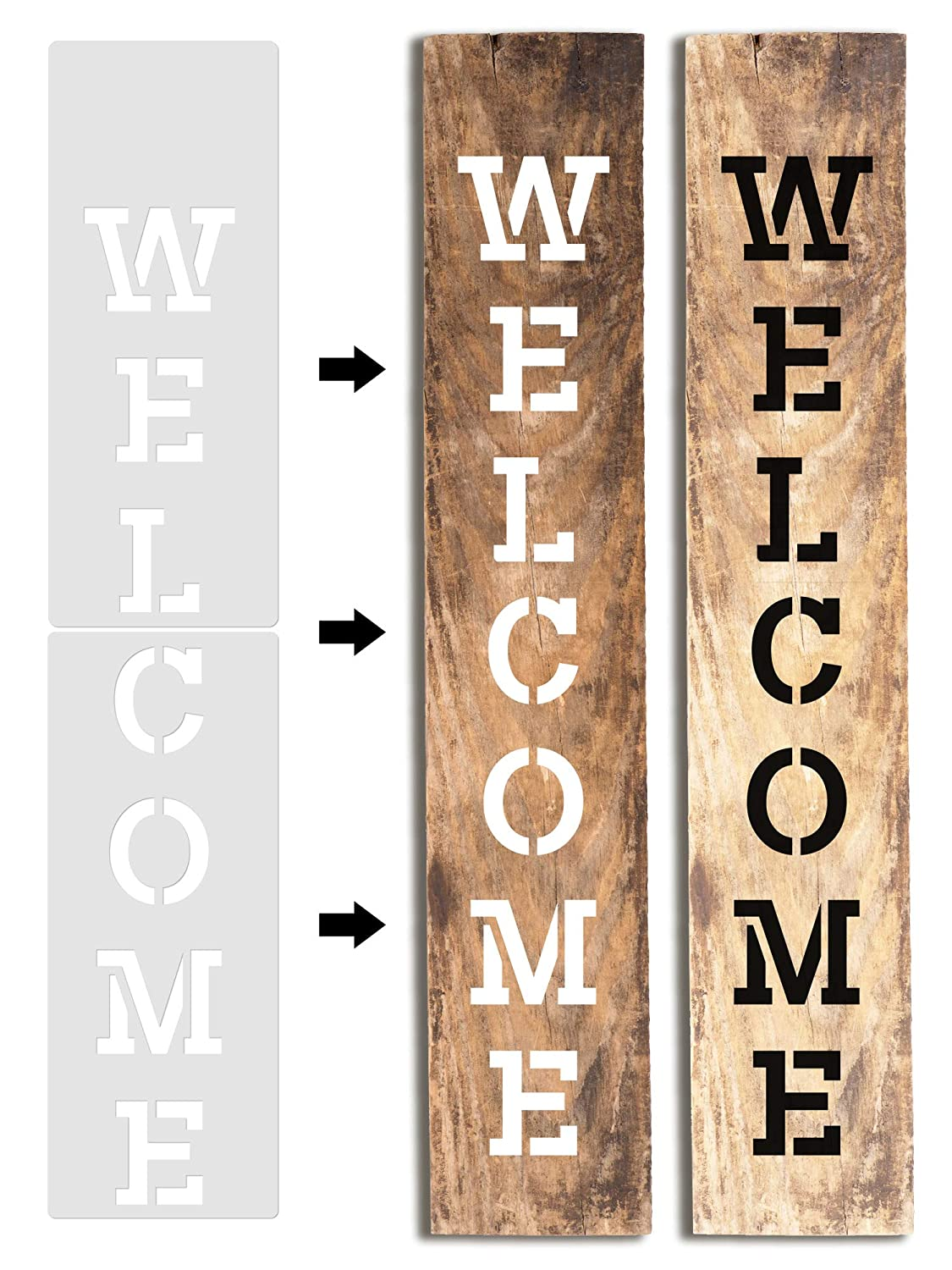 Porch or Outside Home Decor KIBAGA Easy Paint Reusable Welcome Sign Stencil for Front Door with Additional Seasonal Bonus Stencils for Painting on Wood and More