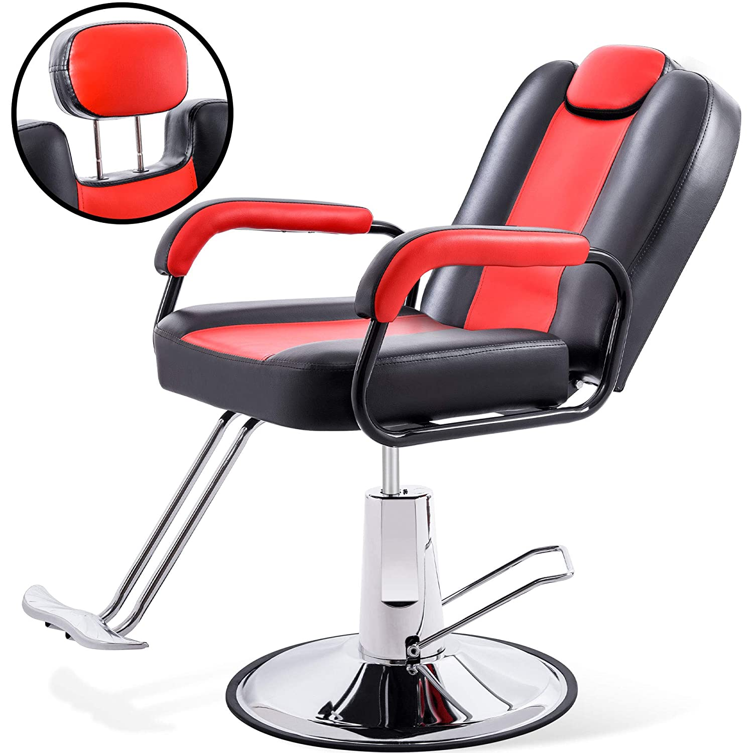 Hydraulic Recliner Barber Chair For Hair Salon With 20 Extra Wider Seat Heavy Duty Hydraulic Pump 2021 Upgraded Salon Beauty Equipment Black Red Kitchen Dining