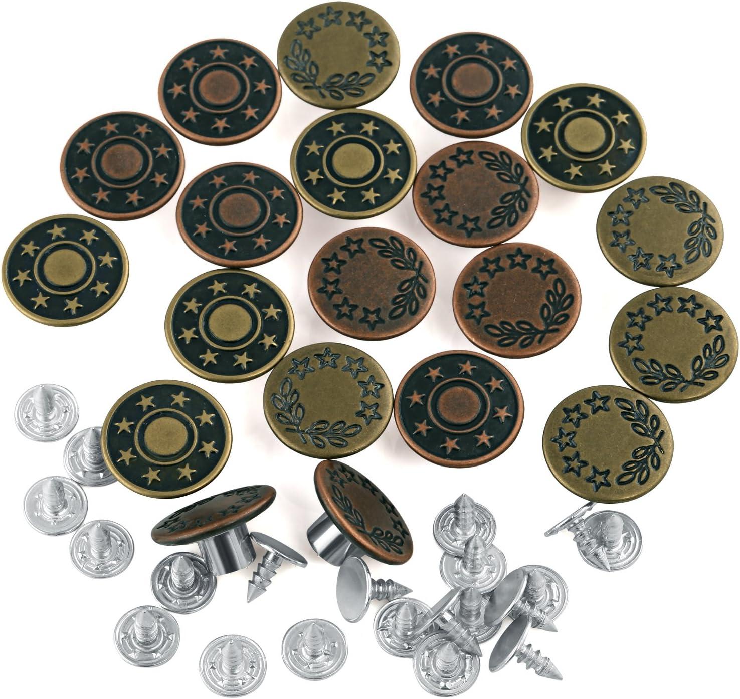 0,33€//1S 10 super Nähfrei Jeansknöpfe  Patentknöpfe 16 mm Ersatzknopf altkupfer