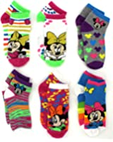 Mickey and Minnie Mouse Girls 6 pack Socks (Toddler/Little Kid/Big Kid/Teen/Adult)