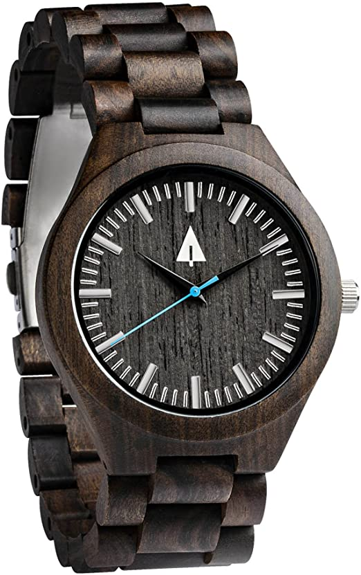 Image result for Treehut Men's Zebrawood and Ebony Wooden Watch