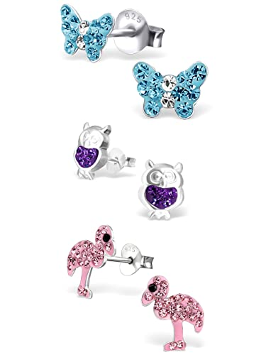 d0216fee7 925 Sterling Silver Hypoallergenic Set of 3 Pairs Blue Crystal Butterfly,  Purple Crystal Owl,