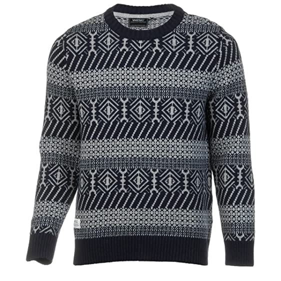 Amazon.com: WeSC Mens North Fair Isle Pullover Sweater blueiris ...