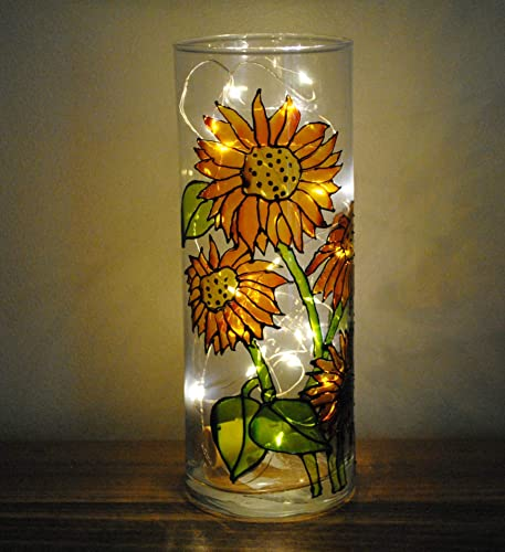 Yellow Sunflowers Hand Painted Stained Glass 9 Inch Cylinder Flower Vase