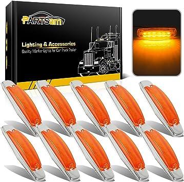"""6 Clearance Side Marker Lights Amber LED 1/"""" x 3//4/"""" Flush Mount Trailer Pickup"""