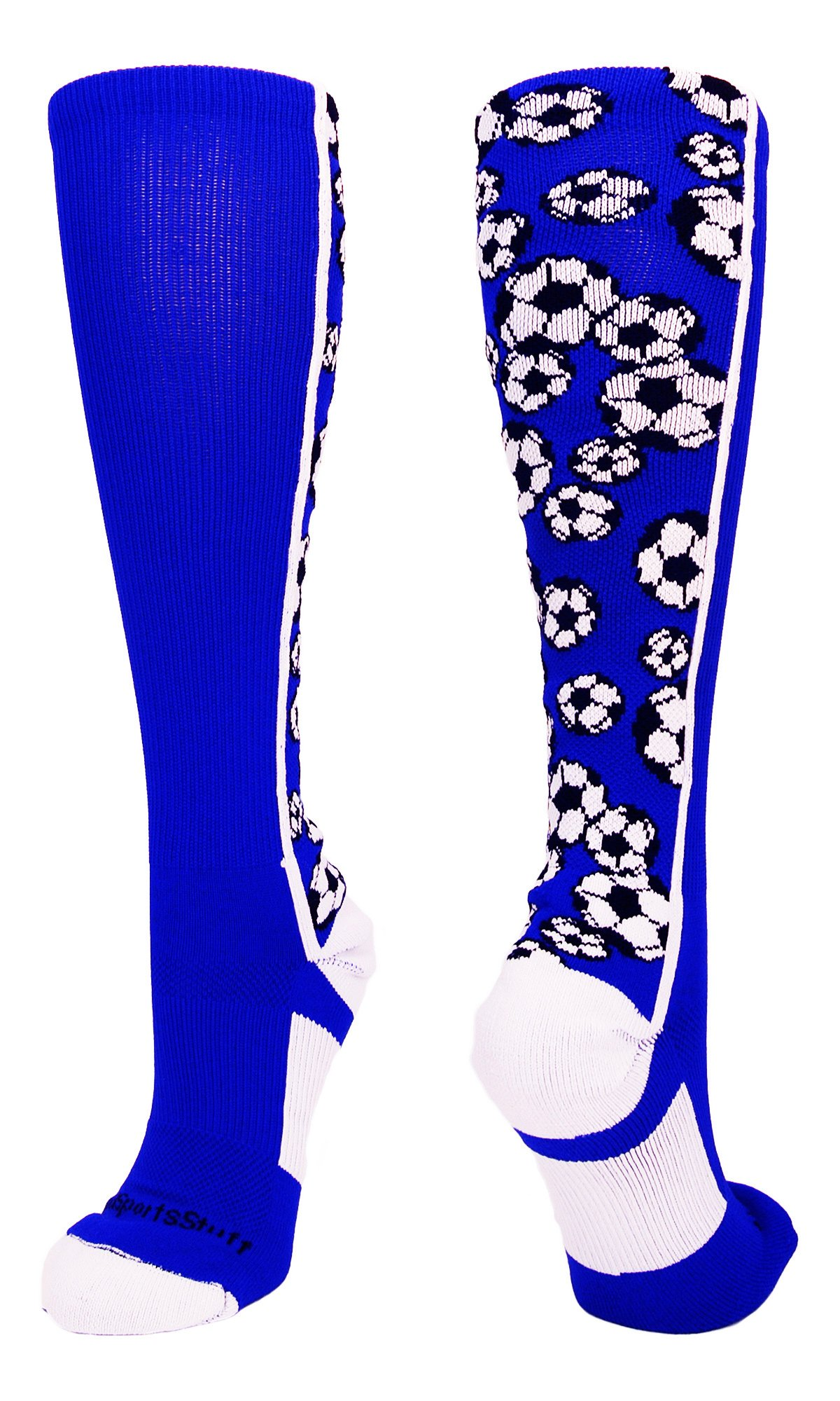 MadSportsStuff Crazy Soccer Socks with Soccer Balls Over The Calf (Royal/White, Small) by MadSportsStuff