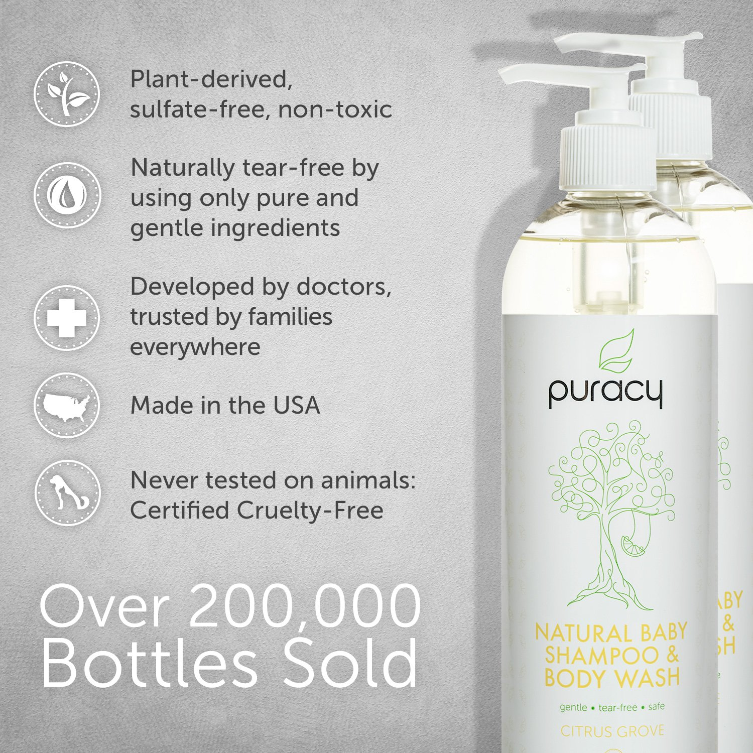 Puracy Natural Baby Shampoo & Body Wash, Tear-Free Soap, Sulfate-Free, 16 Ounce, (Pack of 2) by Puracy (Image #2)