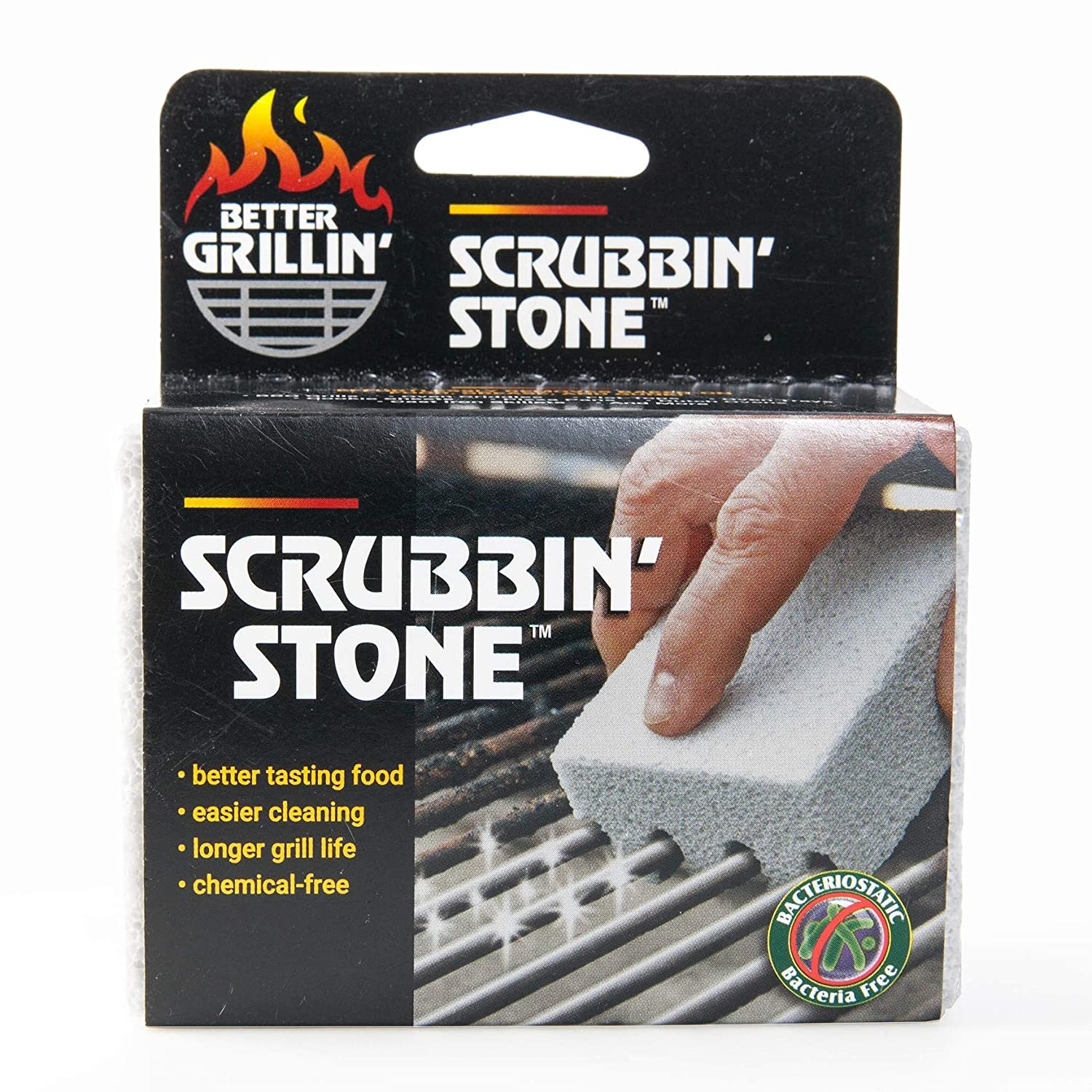 BETTER GRILLIN'' Scrubbin' Stone Grill Cleaner - Scouring Brick/Barbecue Grill Brush/Barbecue Cleaner - Advanced Green Technology Easily Removes Grime and Grease from BBQ, Grills, Griddles, Racks (1)