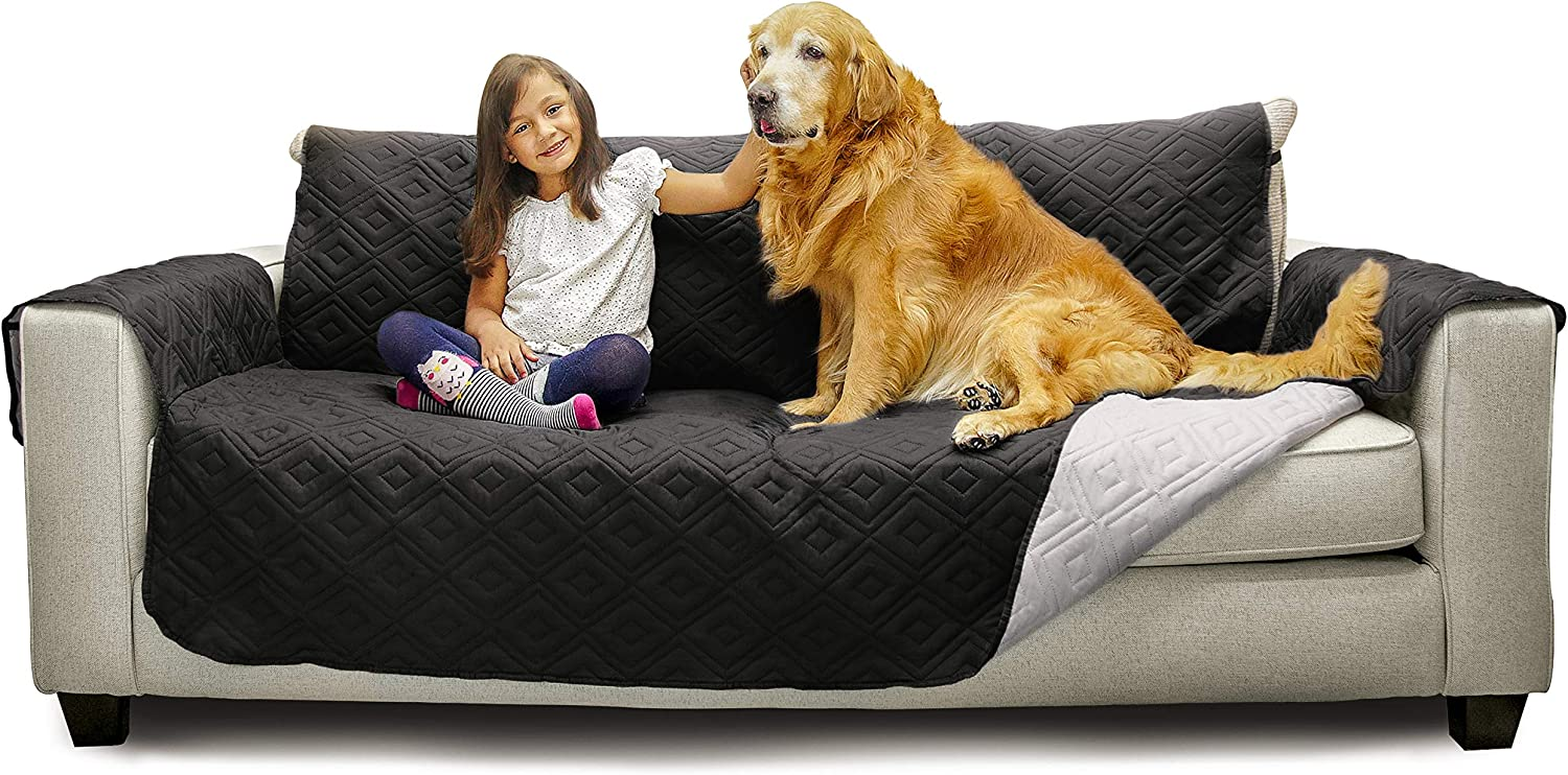 "Mary Maxim Furniture Covers - Quilted Couch Slipcover and Furniture Protector for Dogs, Cats, Pets, & Kids - Side Pockets, Elastic Strap & Water Resistant (70"" Sofa, Black & Light Grey)"