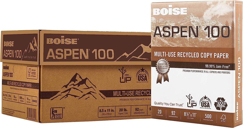 BOISE ASPEN 100% Recycled Multi-Use Copy Paper, 8.5