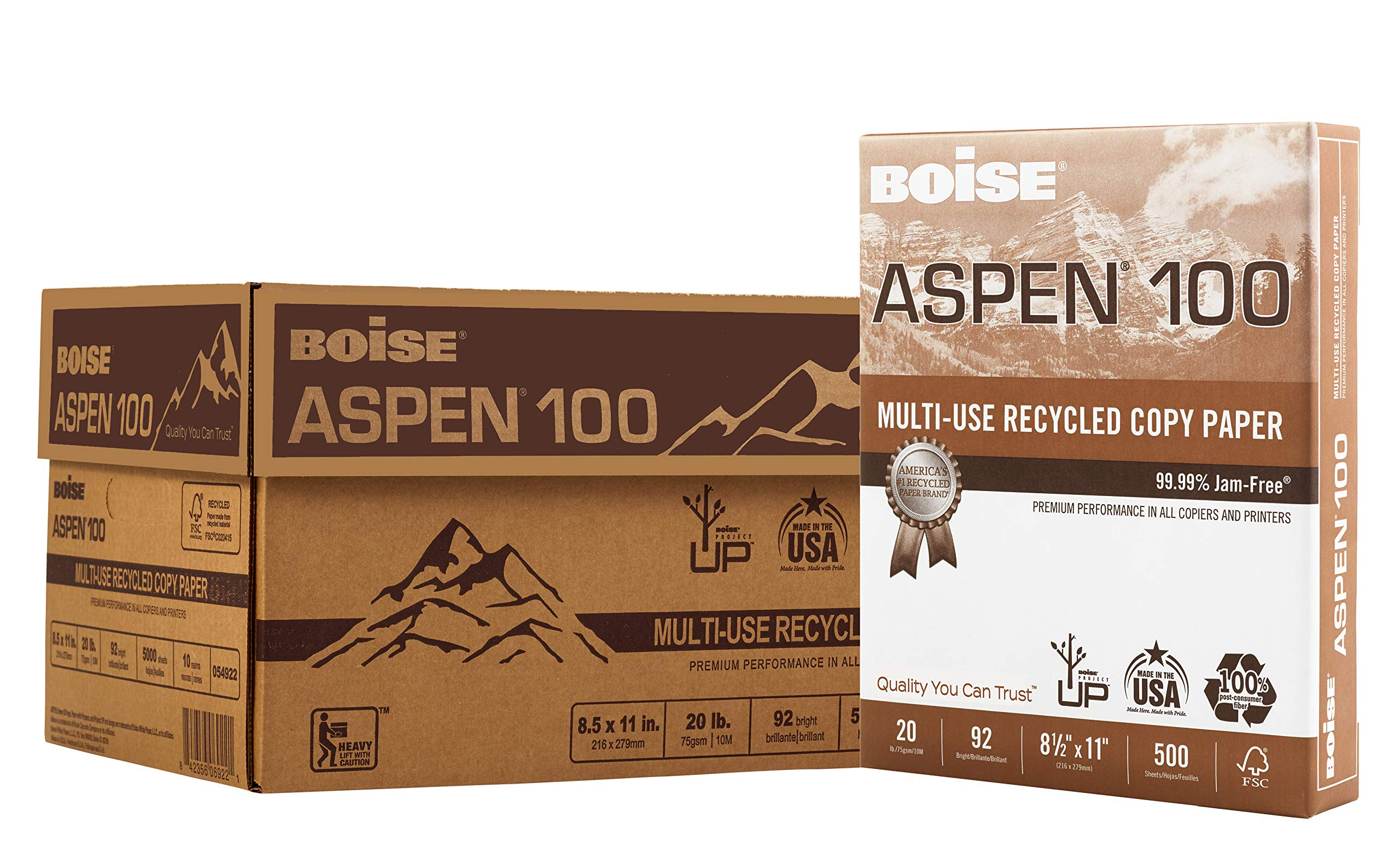BOISE ASPEN 100% Recycled Multi-Use Copy Paper, 8.5'' x 11'', Letter, 92 Bright, 20 lb, 10 Ream Carton (5,000 Sheets) by Boise Paper