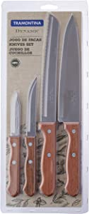 Tramontina Dynamic 4 Piece Kitchen Essentials Knife Set with Riveted Wooden Handles | Kitchen Knives Starter Set