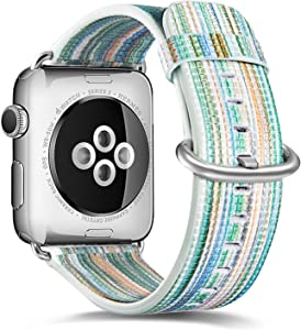 Compatible with Apple Watch Band 38mm 40mm iWatch Bands Womens for Series 6 5 4 3 2 1,Pierre Case Durable Genuine Leather Replacement Strap,Adjustable Stainless Metal Clasp(Green)