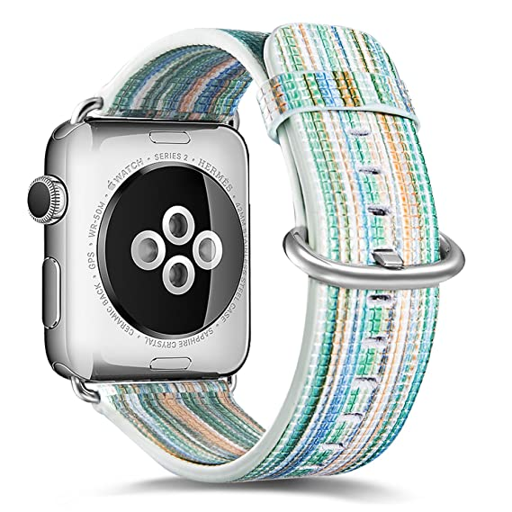 928c9d730 iWatch Band 38 mm - MonsDirect Soft PU Leather iWatch Rainbow Replacement  Watch Band Wrist Strap