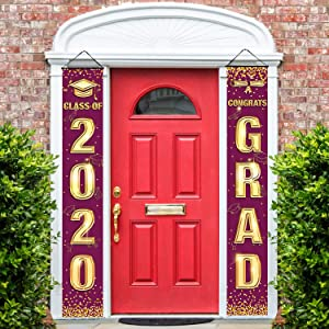 Agantree art Graduation Banner Porch Sign Congrats Banner Hanging Decoration for Indoor/Outdoor Graduation Party Grad Party Decorations (Burgundy)