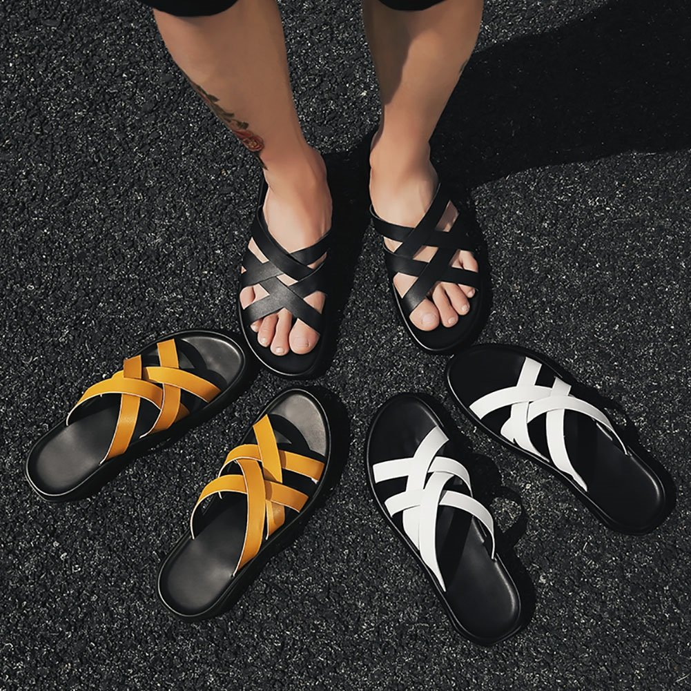 Roman Knöchelriemen Sandalen Outdoor Slipper Sandale Sommer Mann Strand Schuhe Mann Sommer Sandale Slipper Multicolor (39-44 Größe) (Farbe : Gelb, größe : 39) Gelb cdee20