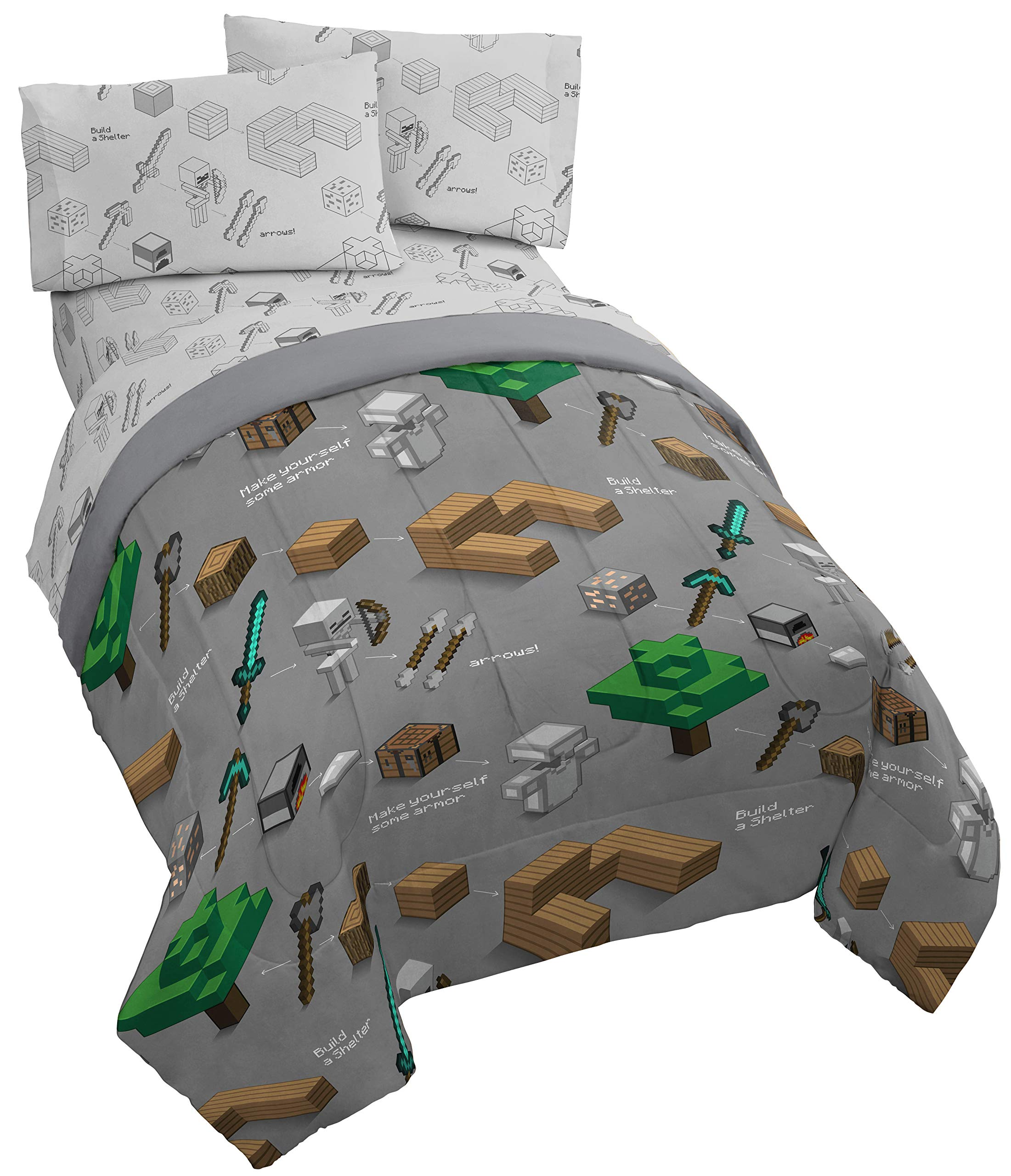 Jay Franco Minecraft Survive Twin Comforter - Super Soft Kids Reversible Bedding - Fade Resistant Polyester Microfiber Fill (Official Minecraft Product)