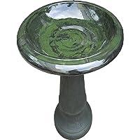 Tierra Garden 4-8181 Fiber Clay Bird Bath with Gloss Bowl, 25-Inch, Hunter Green