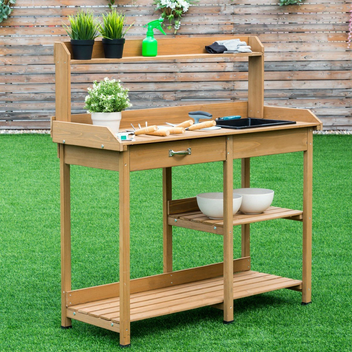 Garden Wooden Planting Potting Bench Table with Shelves - By Choice Products