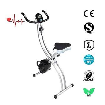 Bicicleta estática plegable Ativafit, con asiento ajutable y pulso