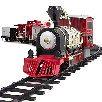 FAO Schwarz 1006832 Classic Motorized Train Set, Complete Toy Set with Engine, Cargo, 18' of Modular Tracks, Red/ Black, Pack of 30: Toys & Games