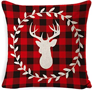 LAKYTION Christmas Pillow Cover 18x18 Inch Red Black Buffalo Plaids Deer Berry Wreath Cotton Linen Throw Pillow Cover Cushion Cover Pillow case for Winter Home Decor Holiday Christmas Decorations