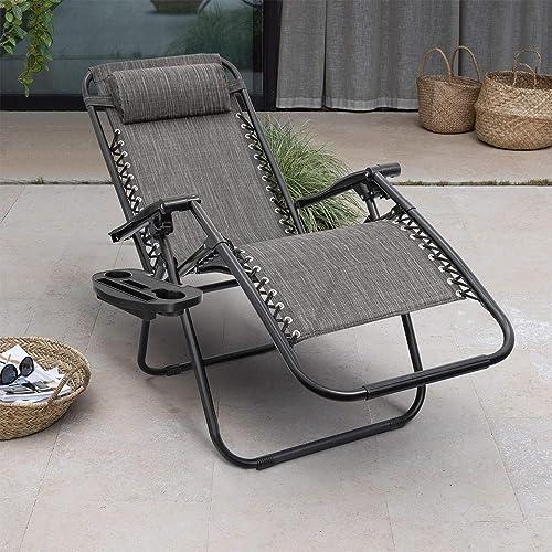 Homall Zero Gravity Chair Adjustable Folding Lawn Lounge Chairs Outdoor Lounge Gravity Chair Camp Reclining Lounge Chair