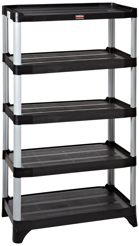 Rubbermaid FG9T3900 Estantería negra de 5 estantes, capacidad ...