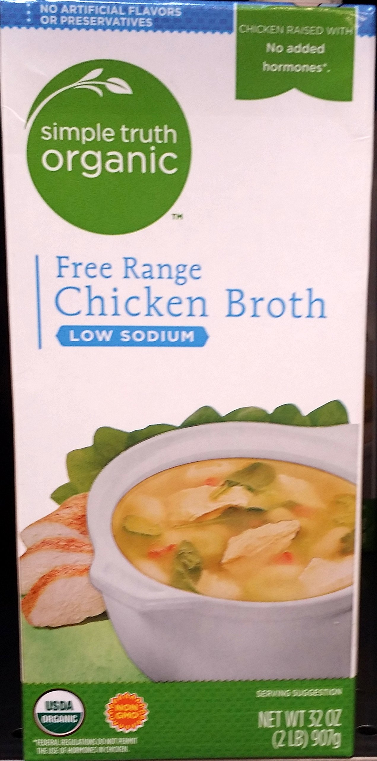 Simple Truth Organic Free Range Chicken Broth Low Sodium 32 oz (Pack of 3)
