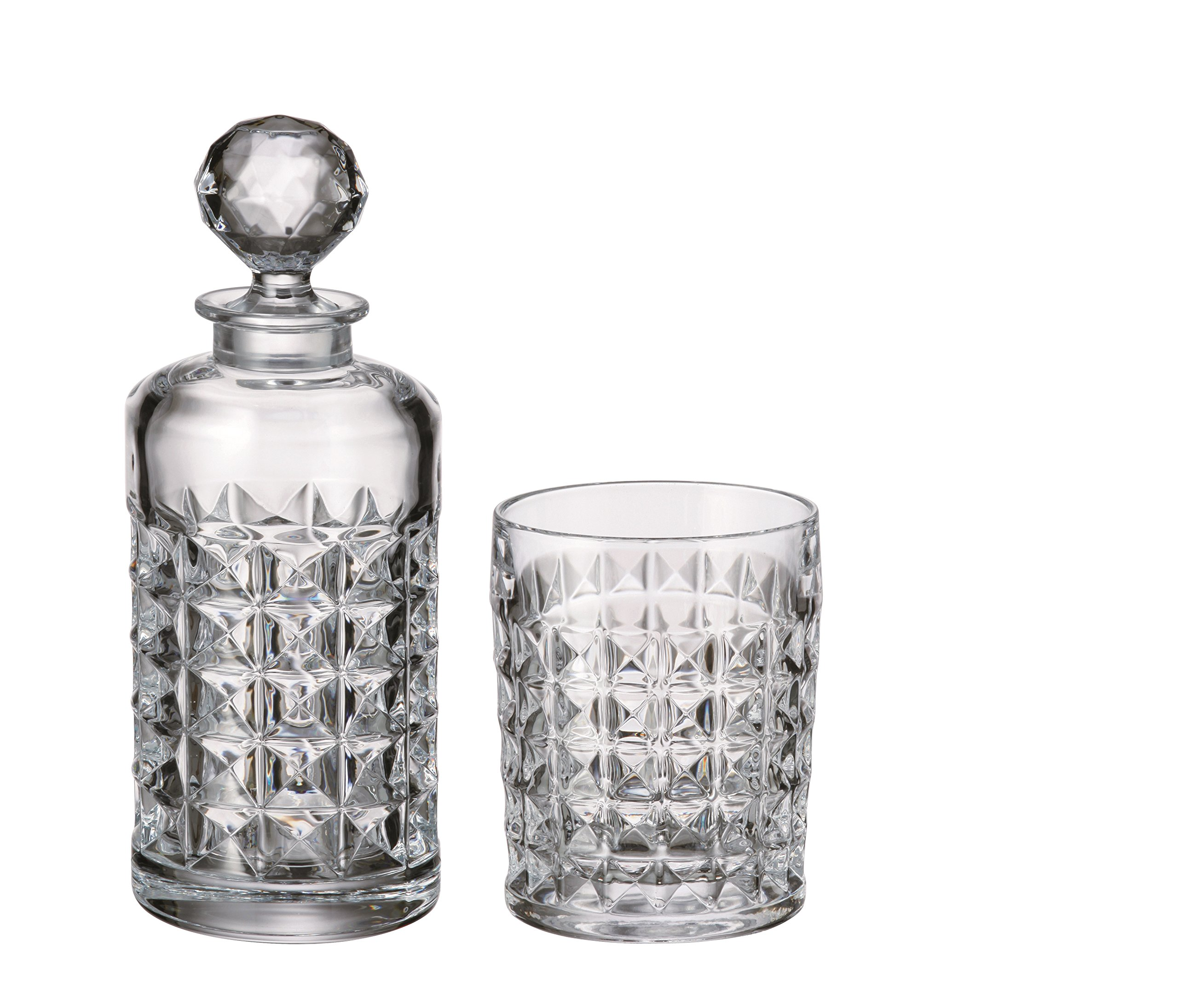 Red Vanilla DIA40-700 Diamond Whiskey Set-Decanter and 6 Dof, Clear