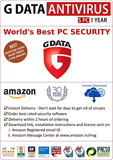 G Data Antivirus - 5 Users, 1 Year (Email Delivery in 2