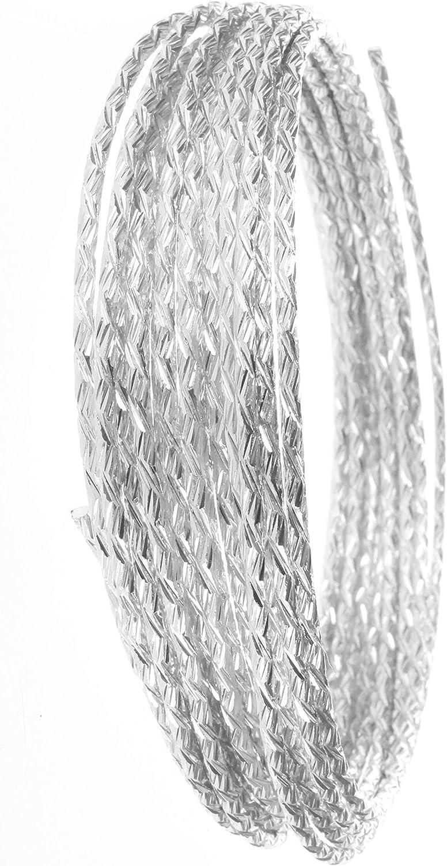 Creacraft 5m Fil dAluminium Structur/é pour Perlage et Bijoux effet des vagues 2, argent