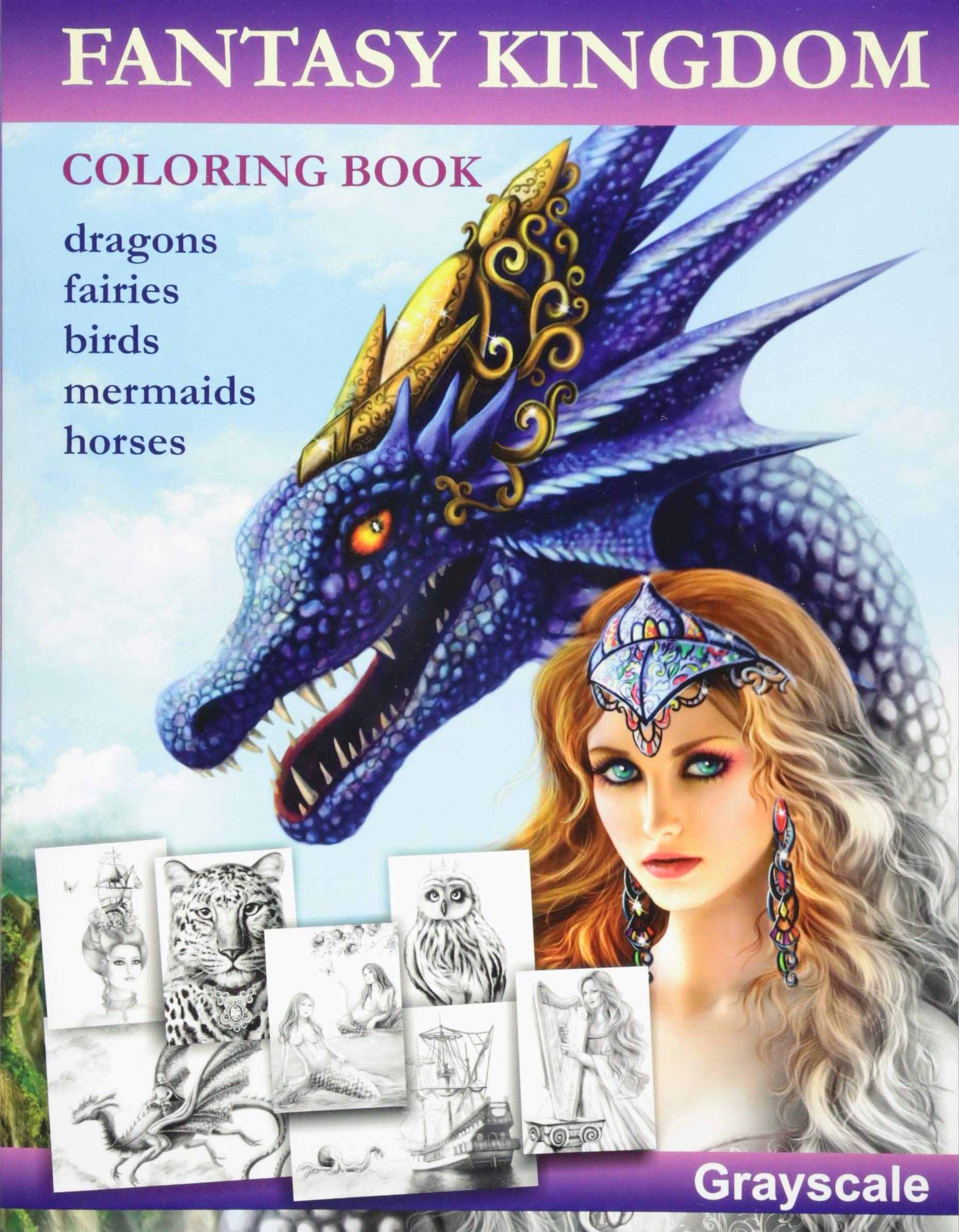 Details About Fantasy Kingdom Grayscale Adult Coloring Book By Alena Lazareva