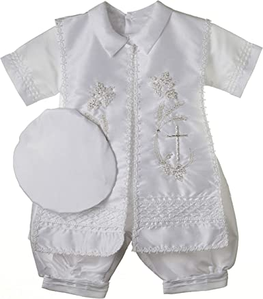 Ivory Blessing or Baptism Outfit Baby Boy Christening Outfit 5 pieces