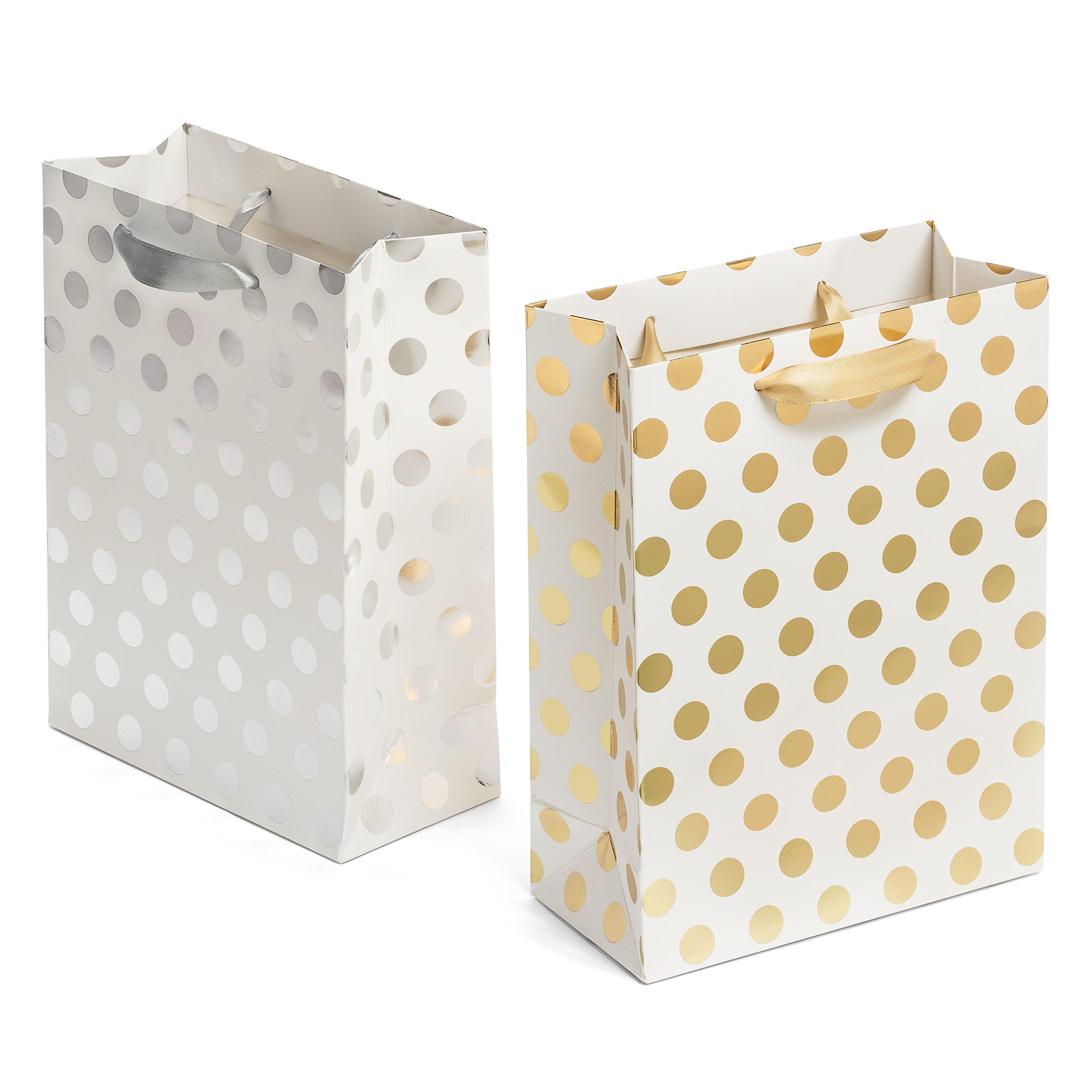 Amazon.com: 1 Dozen - Paper Small Silver Polka Dot Gift Bags: Health ...
