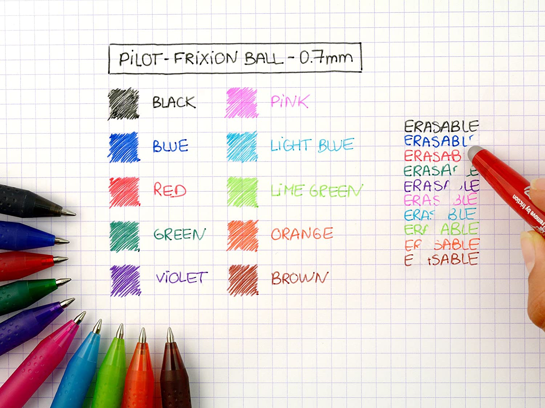 Vert Lot de 5 Stylos Roller FriXion Ball Pointe Moyenne Pilot Rouge Bleu 2 Noirs Stylo Gel Roller Effa/çable