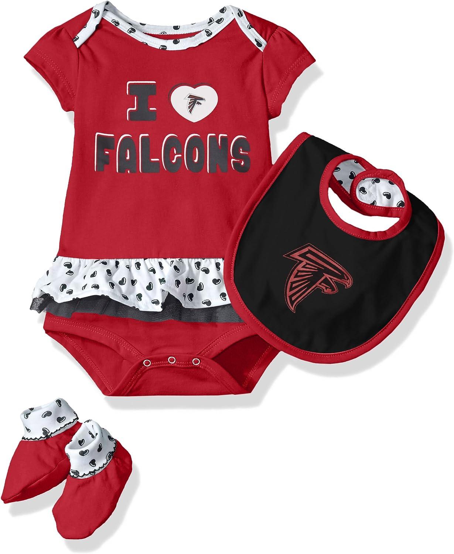 Outerstuff NFL Girls Newborn Team Love Onesie Bib /& Bootsies