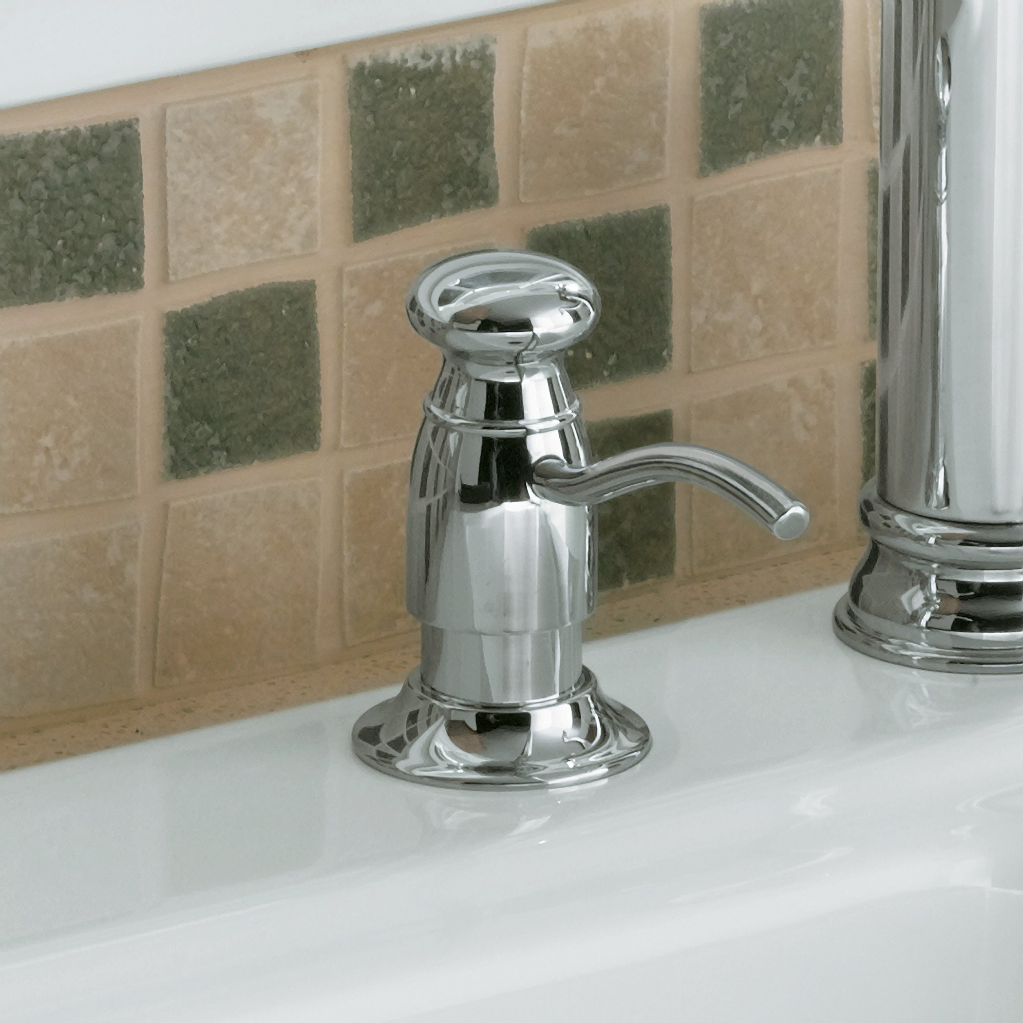 KOHLER K-1894-C-SN Soap or Lotion Dispenser with Traditional Design (Clam Shell Packed), Vibrant Polished Nickel by Kohler (Image #2)