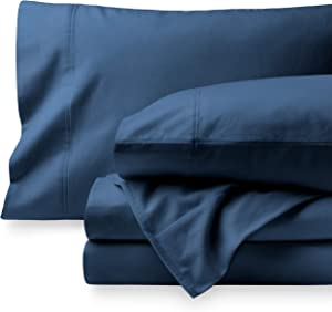 Bare Home Flannel Sheet Set 100% Cotton, Velvety Soft Heavyweight - Double Brushed Flannel - Deep Pocket (Twin, Dark Blue)