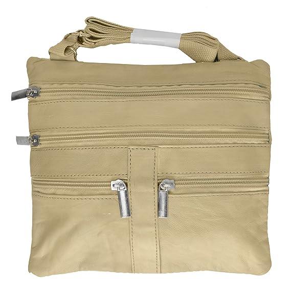 767deb316 Image Unavailable. Image not available for. Color  Soft Leather Cross Body  Bag Purse Shoulder Bag 5 Pocket Organizer ...
