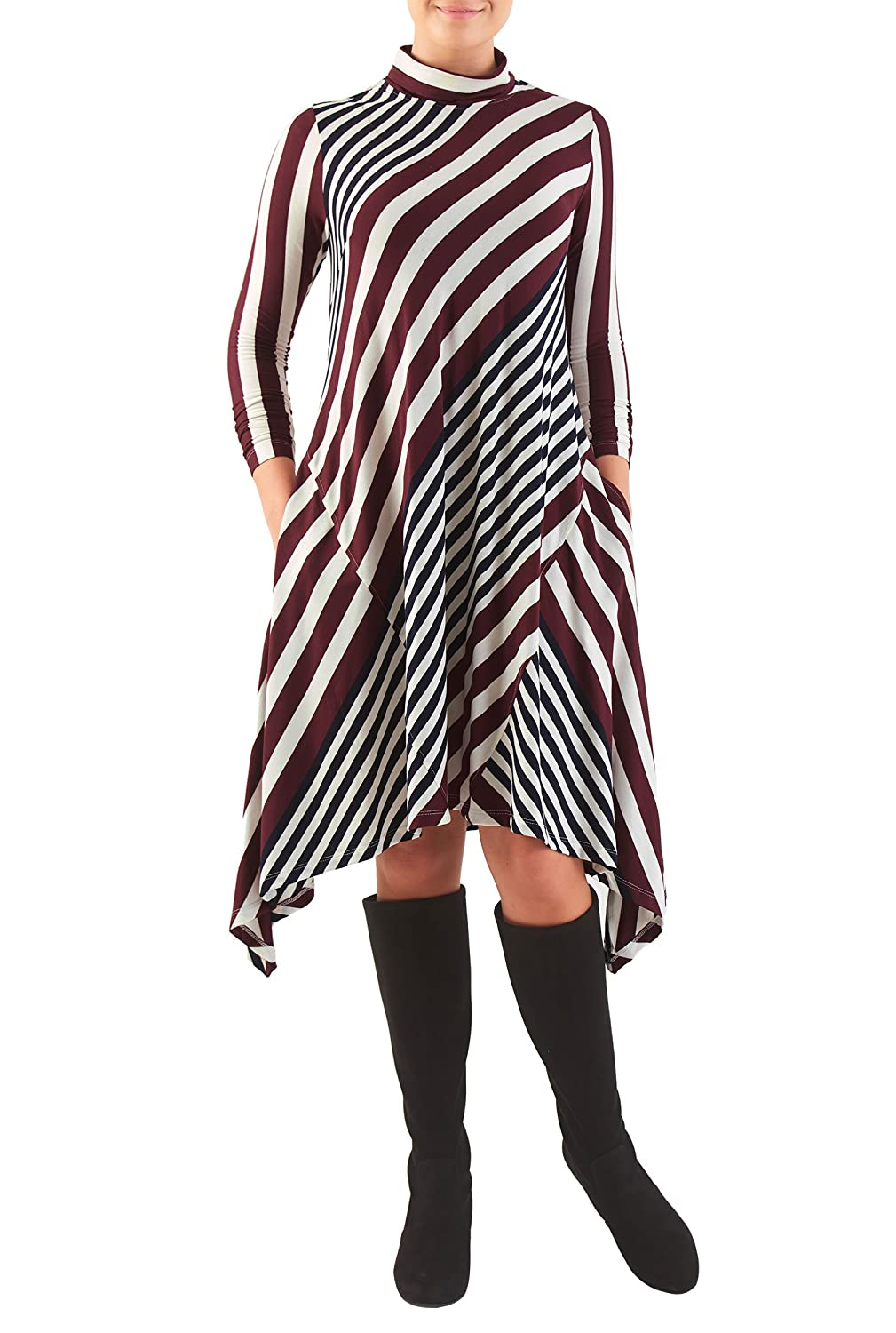 eShakti Women's Asymmetric hem stripe jersey knit trapeze dress