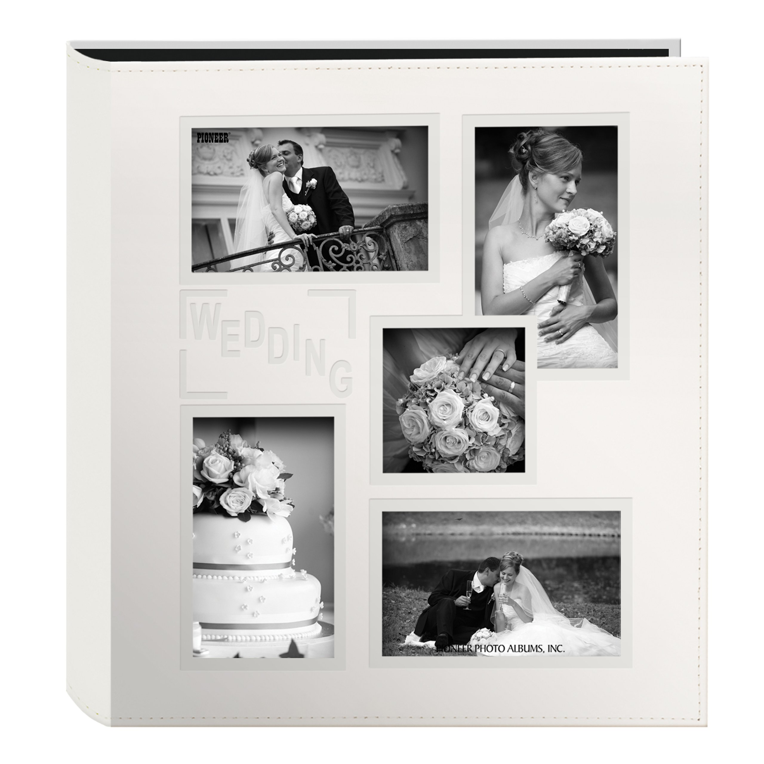 Pioneer Collage Frame Embossed ''Wedding'' Sewn Leatherette Cover Photo Album, Ivory