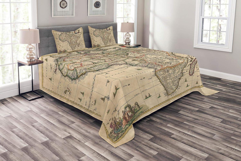 珍しいアンティークベッドスプレッド アフリカの地図 古代の歴史的 素朴な原稿 地理的 装飾キルトカバーセット 枕カバー付き サンドブラウン マルチカラー クイーン bed_10977_queen B07HB76Y18 マルチ1 クイーン