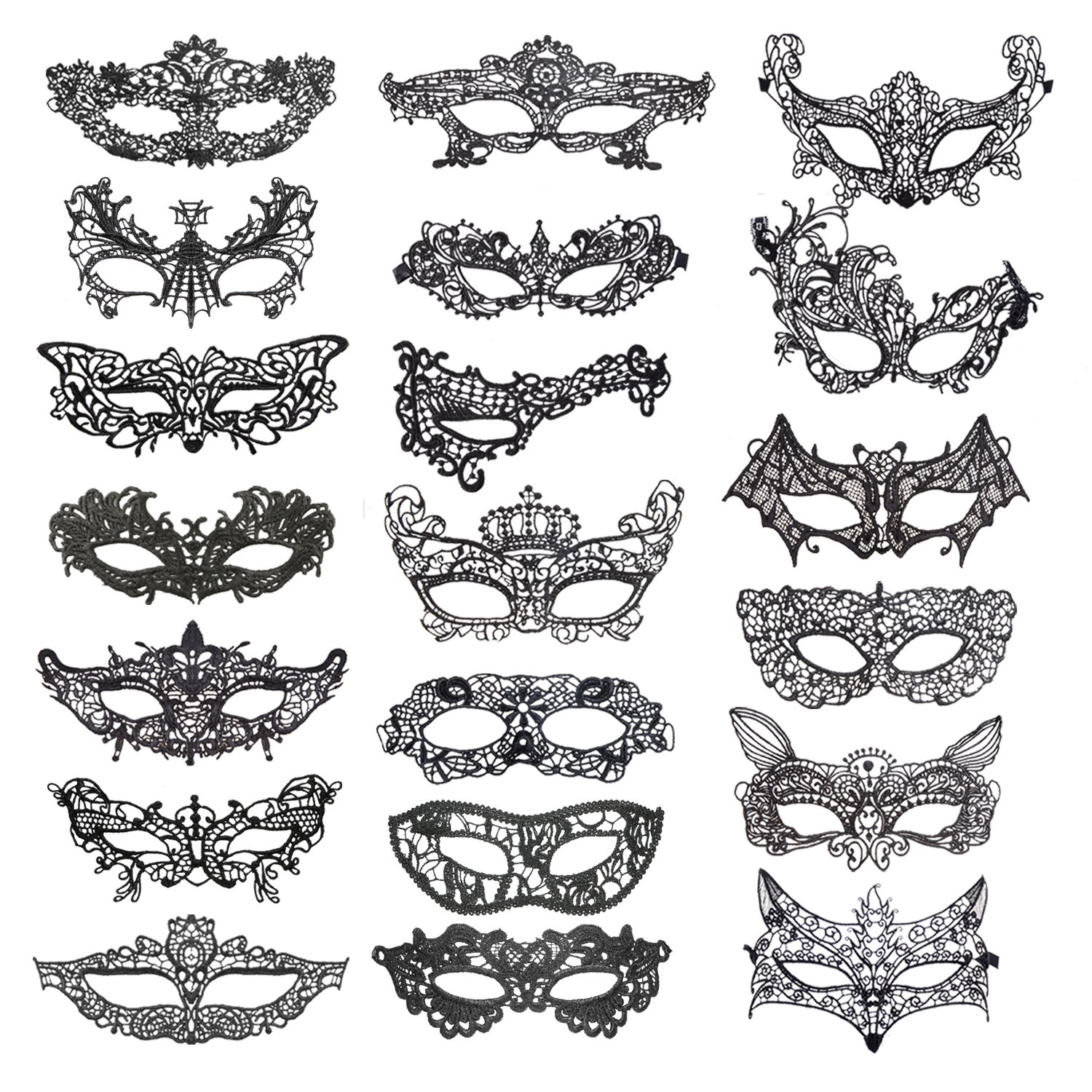 coobey 20 pieces lace mask masquerade venetian eyemask halloween sexy woman lace mask for halloween masquerade