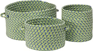 "product image for Colonial Mills Early Years 3-Piece Basket Set, 10""x10""x10""/12""x12""x8""/16""x16""x10"", Blue Lime"