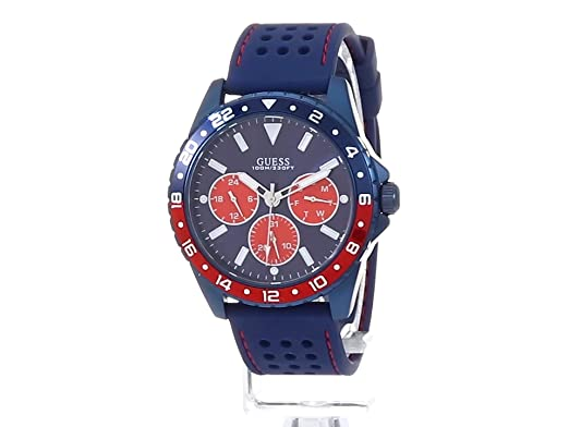 Amazon.com: GUESS Mens Stainless Steel Texture Silicone Watch, Color: Blue/Red (Model: U1108G1): Watches