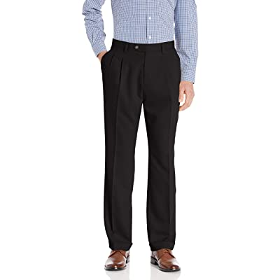 Cutter & Buck Men's Twill Microfiber Pleated Pant 32 Inch, Black, 38x32 at Men's Clothing store