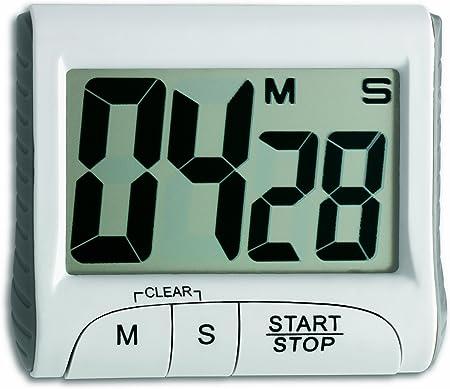 TFA 38.2021.02 38.2021 Timer elettronico, con cronometro, Metallo, Bianco