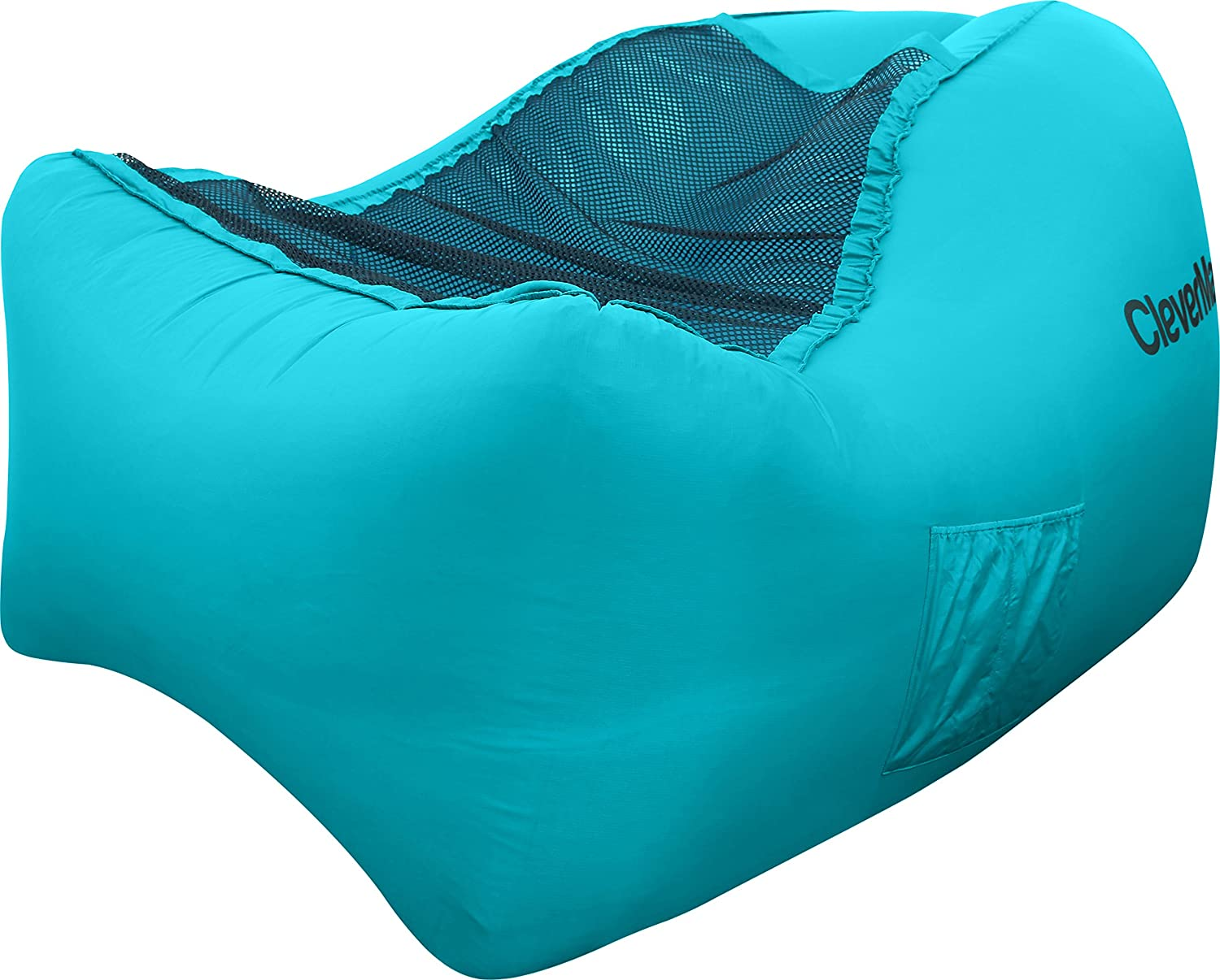 CleverMade Inflatable Lounger Air Chair: Lightweight Recliner Style AirChair, Portable Outdoor Beach Chair with Carry Bag, Ground Stakes, and Storage Pockets, Teal