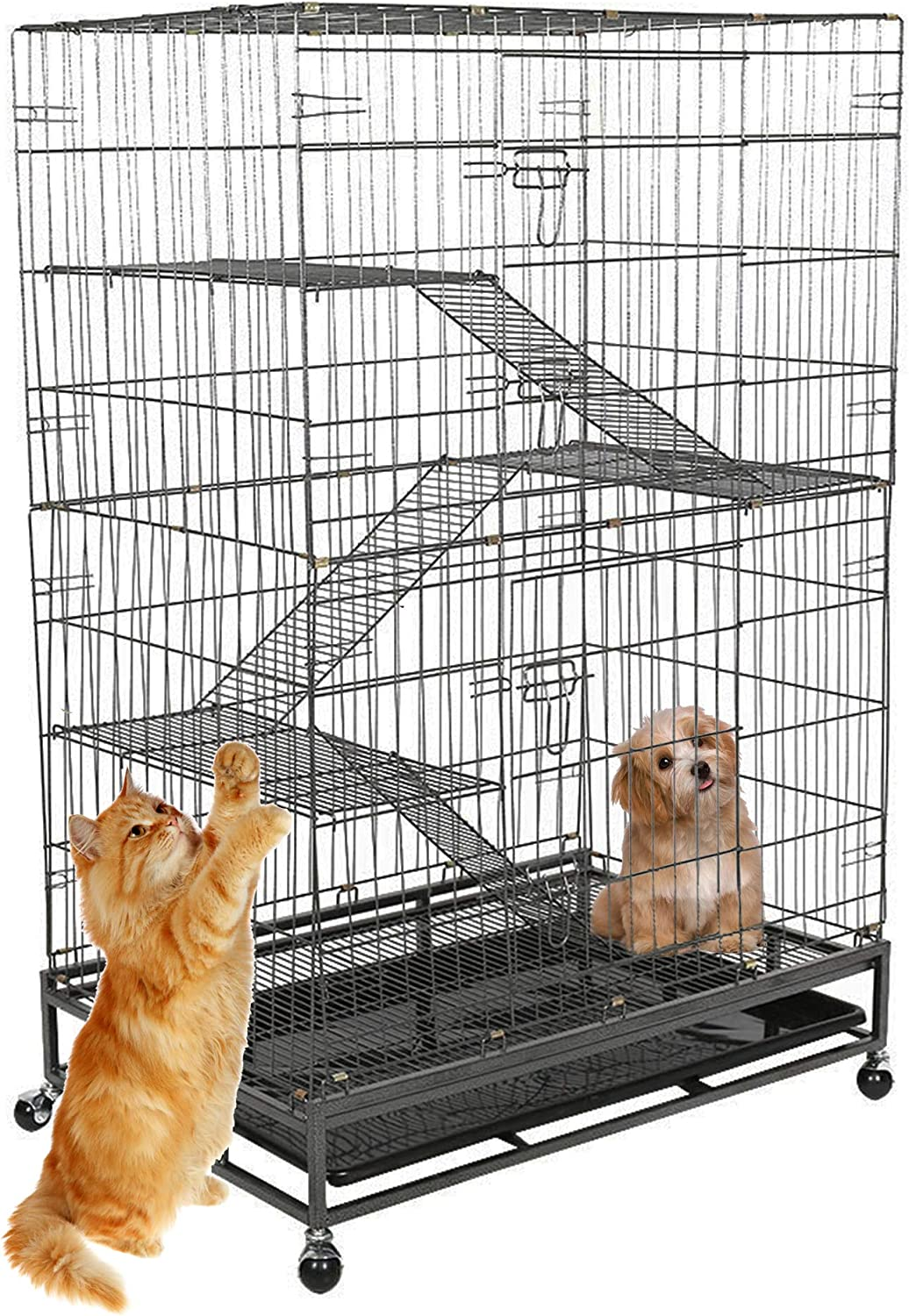 KARMAS PRODUCT Pet Cage Cat Dog Crate Folding Large Metal Cage w Removeable Leak-Proof Tray, Climbing Ladders, 4 Wheels